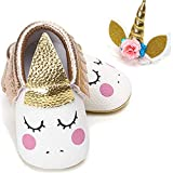Isbasic Baby Girl Soft Sole Mary Janes with Bow Headband Princess Baptism Crib Dress Shoes (6-12 Months, 1809-gold)