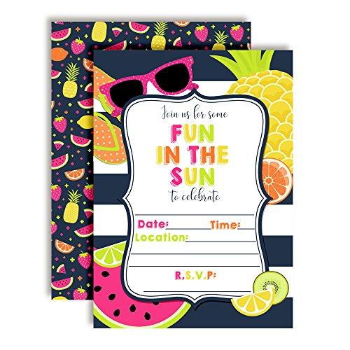Fruity Fun in The Sun Nautical Striped Birthday Party Invitations, Twenty 5
