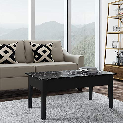 Faux Marble Lift Top Coffee Table, Black (Coffee Table Converts To Tv Dinner Table)