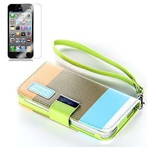 TOOGOO(R) Funda Cartera de Cuero Marron Multicolor para Apple iPhone 5, Funda de Cuero PU & Protector de Pantalla & Correa para iPhone 5