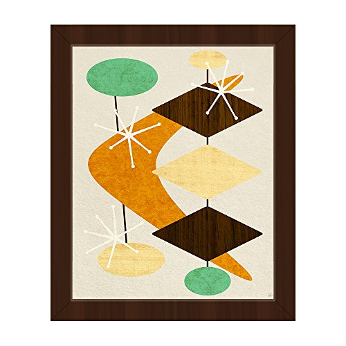 Bang Bang Boomerang Orange: Mid-Century Retro Modern Postmodern Geometric Shapes Abstract Painting Drawing Illustration Wall Art Print on Canvas with Espresso Frame