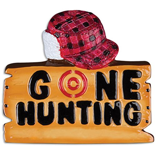 Personalized Gone Hunting Christmas Tree Ornament 2019 - Wood Sign Red Hat Target Hunts Gun Trapper Hobby Stalker Woodsman Game Shooting Sport Profession Year - Free Customization (Best Shotgun For Deer Hunting 2019)