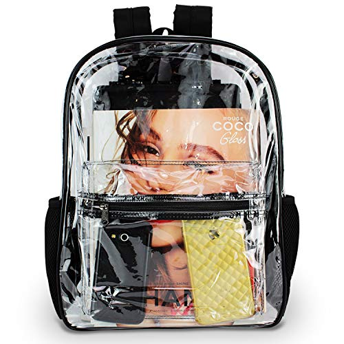 - Clear Backpack By OMAYA – Durable PVC Bag For School, Travel, Security, Stadiums & More – Multi-Pockets Heavy Duty Clear Backpack For Adults & Kids – 5 Color Trim Clear Bookbag – Waterproof (BLACK)