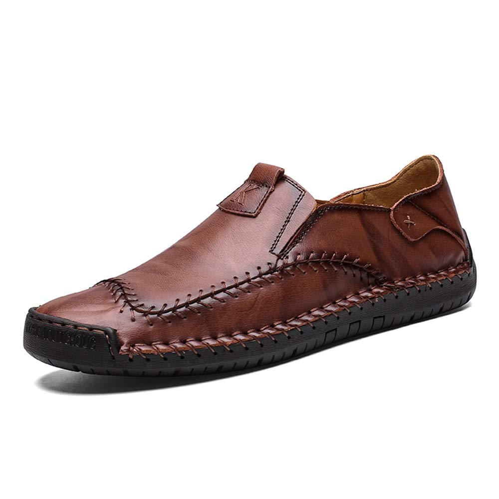 Wine JIALUN-shoes Men's Fashion Oxford Effortless Comfortable Slip On Classical Solid color Round Toe Formal shoes