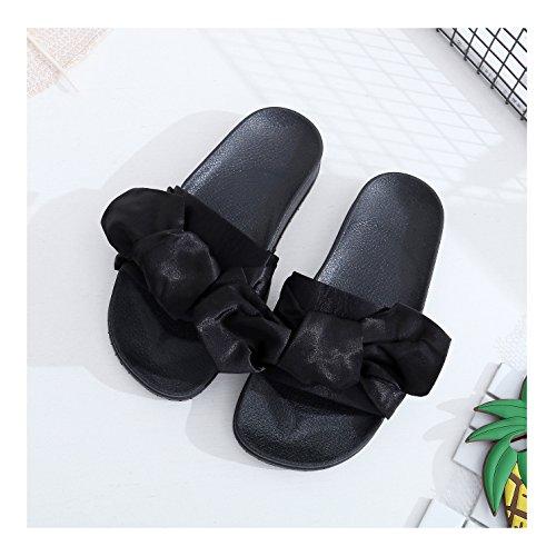 negro de vestir Amkun de satén Sandalias Material para Sintético mujer qaFfz6Tw