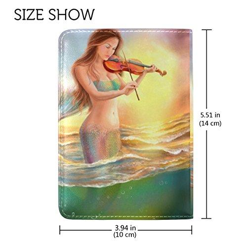 Coosun schöne Fantasy Meerjungfrau spielt auf Violine Sunse Leder Passhülle Cover für Reisen eine Tasche