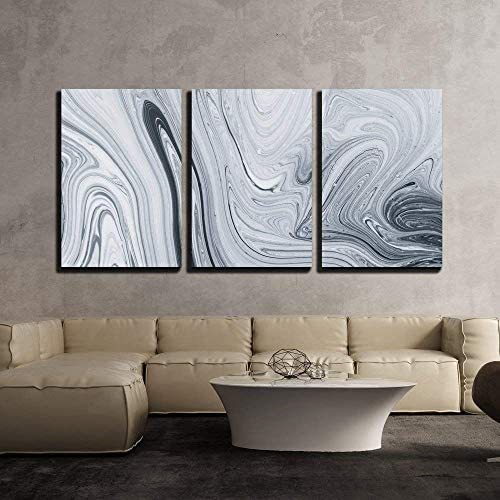 Abstract Pattern Traditional Ebru Art Painting on Water Followed by Paper x3 Panels