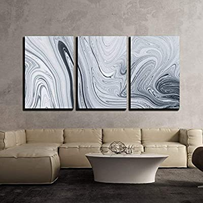 3 Piece Canvas Wall Art - Abstract Pattern, Traditional Ebru Art. Painting on Water, Followed by Paper Prints. - Modern Home Art Stretched and Framed Ready to Hang - 16