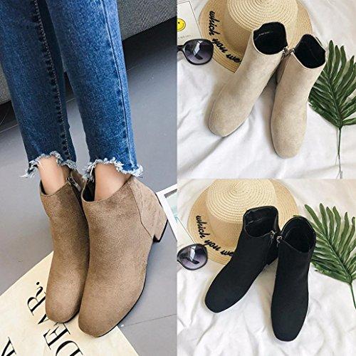 plataforma medio de para de Manadlian Boots Botas Zapatos cremallera tacón Botines mujer Caqui con Martin WFnwUS1