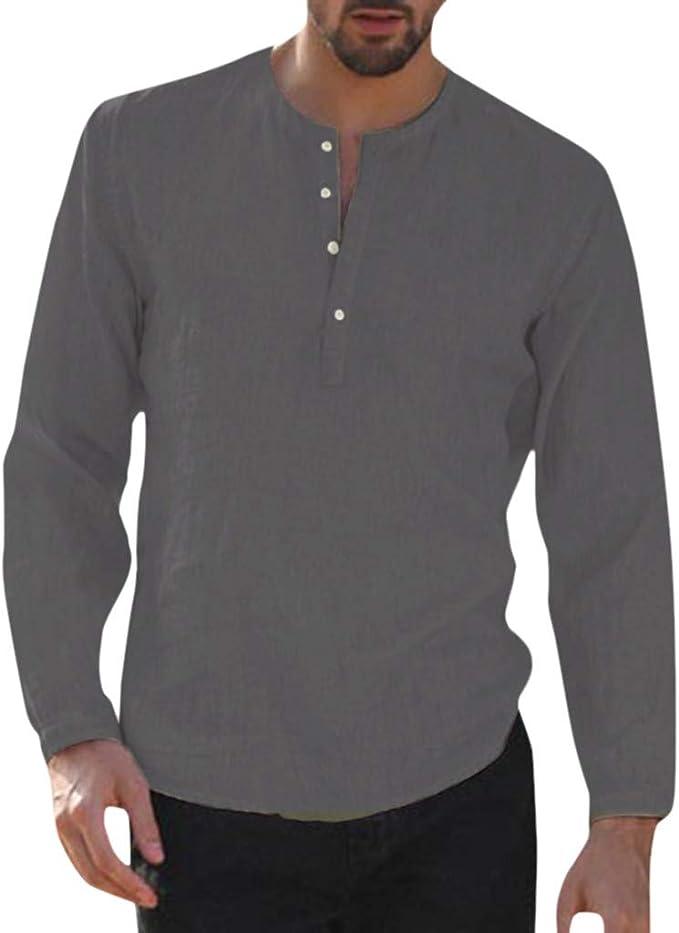 Men Beach Casual 100/% Cotton Linen Long Sleeve Shirt Tops Button Summer Work New