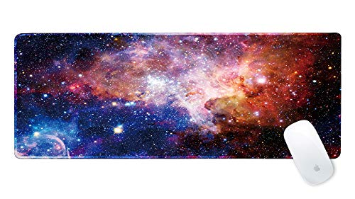 - Galdas Gaming Mouse Pad Galaxy Pattern XXL XL Large Mouse Pad Mat Long Extended Mousepad Desk Pad Non-Slip Rubber Mice Pads Stitched Edges Thin Pad (31.5x11.8x0.08 Inch)-Outer Space