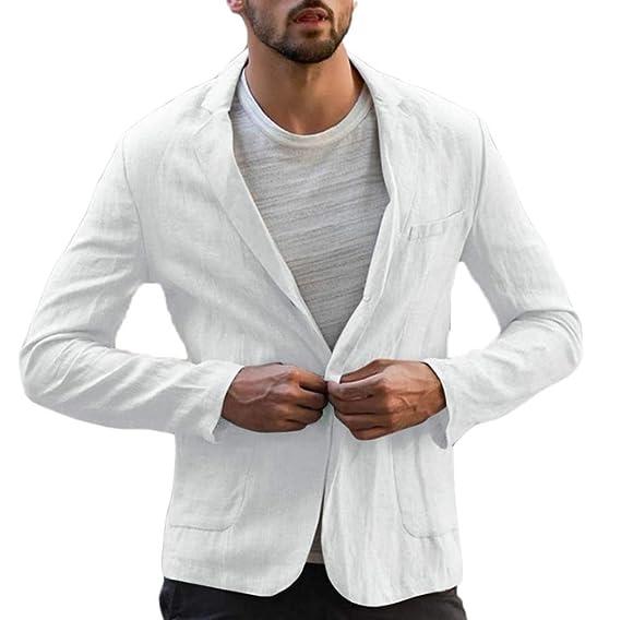 Keepmore Blazer de algodón de Lino Vintage para Hombre ...