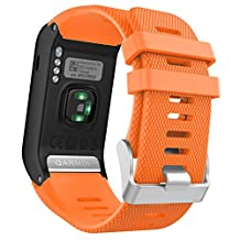 Garmin Vivoactive HR Watch Band, MoKo Soft Silicone Replacement Watch Band ONLY for Garmin Vivoactive HR Sports GPS Smart Watch with Adapter Tools - ORANGE