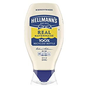 Hellmann's Real Mayonnaise Squeeze Bottle Made from 100% Recycled Plastic,No-Mess Cap, Made with Cage Free Eggs, Gluten Free, 20 oz, Pack of 12