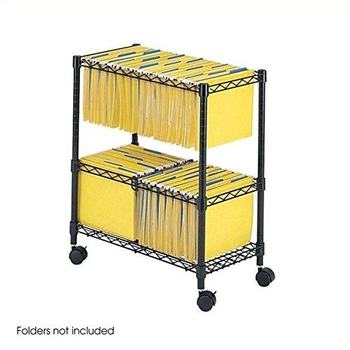 Scranton & Co Two-Tier Mobile Metal File Cart in Black by Scranton & Co