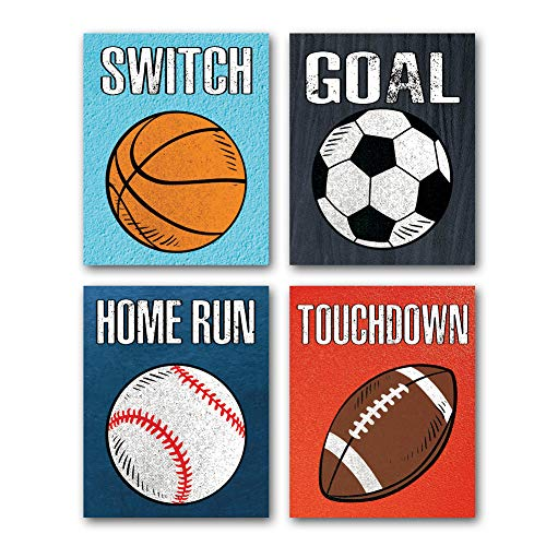 CHDITB Unframed Sports Themed Wall Art Print Modern Balls Art Picture,Set of 4(8