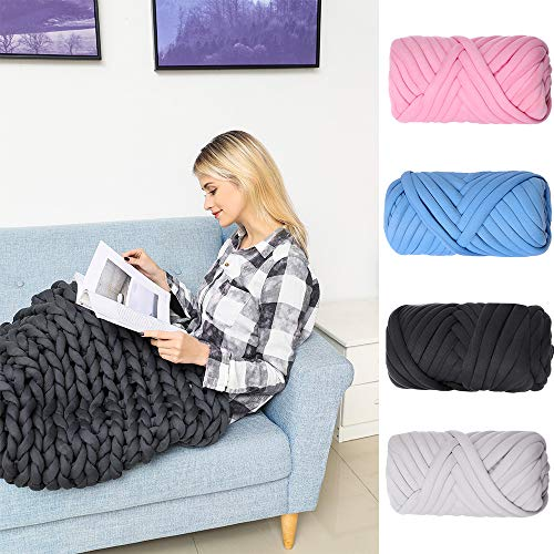 Super Chunky Yarn Arm Knitting Blanket Bulky Yarn Merino Wool Alternative 2.2Lb (Blue)