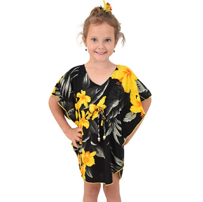 9942016bf498 Amazon.com: Island Style Clothing - Girls Kaftan Hawaiian Floral Leaf Beach  Cover Up Poncho: Clothing