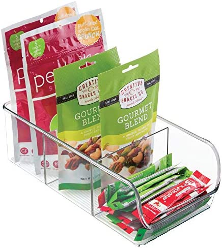 51dgThIX7RL. AC mDesign Plastic Food Packet Kitchen Storage Organizer Bin Caddy - Holds Spice Pouches, Dressing Mixes, Hot Chocolate, Tea, Sugar Packets in Pantry, Cabinets or Countertop - 2 Pack - Clear    From the brand