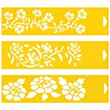 """Set of 3 - 12"""" x 3"""" Reusable Flexible Plastic Stencils for Cake Design Decorating Wall Home Furniture Fabric Canvas Decorations Airbrush Drawing Drafting Template - Flowers Leaf Mallow Floral Rococo"""