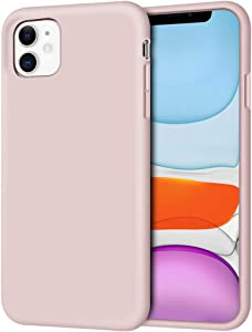 "iPhone 11 Case, Anuck Non-Slip Silicone Gel Rubber Bumper Case with Soft Microfiber Lining Cushion Hard Shell Shockproof Full-Body Protective Case Cover for Apple iPhone 11 6.1"" 2019 - Pink Sand"