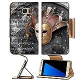 MSD Premium Samsung Galaxy S7 Edge Flip Pu Leather Wallet Case IMAGE ID: 4351527 Venetian Mask composition