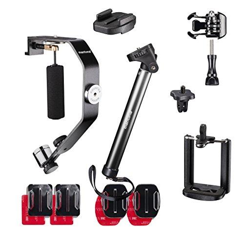 Mantona Selfy Advanced Set III für GoPro/Smartphone inkl. Selfie Stativ/Smartphone Adapter/Schwebestativ/Klebepad/GoPro Adapter