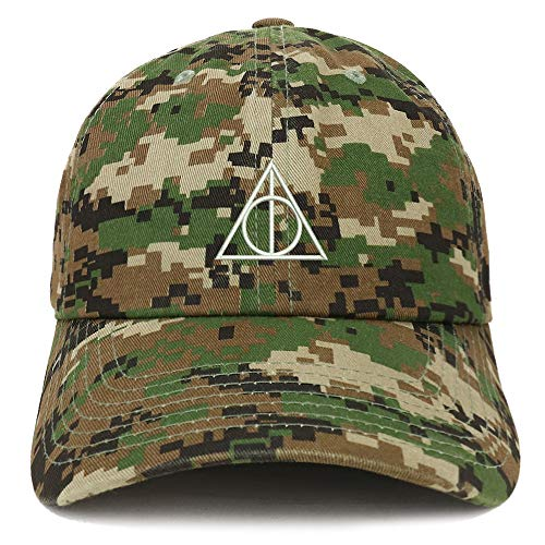 Trendy Apparel Shop Deathly Hallows Magic Logo Embroidered Soft Crown 100% Brushed Cotton Cap - Digital Green ()
