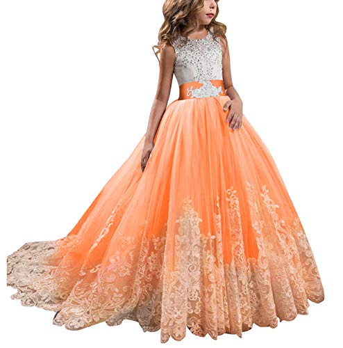 KSDN Orange Wedding Flower Girls Dress Lace Tulle Communion Pageant Gown with Bow (US 10, Orange) -