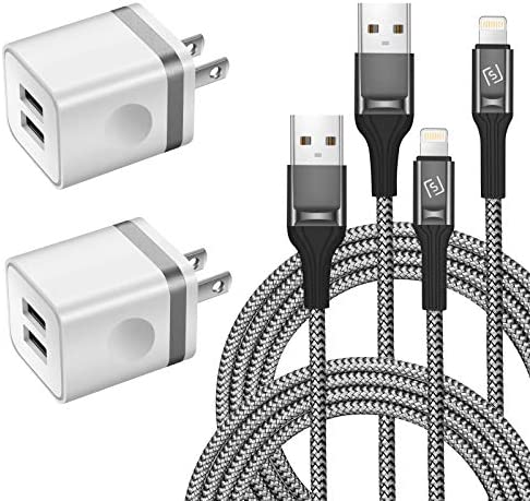 WHIRELEAST iPhone Charger Cable 10 FT with Wall Plug, Braided Long iPhone Charging Cord + Dual USB Wall Charger Block Adapter Compatible with iPhone 12/11/11 Pro Max/XS/XR/X/8/7/6 Plus, iPad (4-Pack)