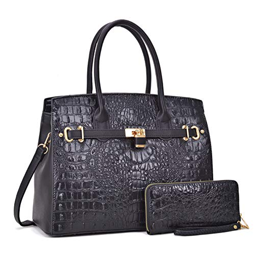 Dasein Designer Satchel Handbags Vegan Leather Purses Shoulder Bags for Women with Shoulder Strap Black Croco & Ostrich