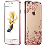 FONOVO iPhone 5/5s - Shockproof Silicone Soft TPU Transparent Auora Flower Case with Sparkle Swarovski Crystals for iPhone 5 & iPhone 5s Back Cover (ROSE GOLD)