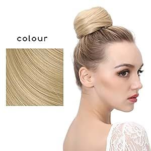 SARLA Donut Chignon Bun Straight Updo Hair Bun Hairpieces Synthetic Scrunchie Hair Bun Extensions Q3 (22/613 Light Honey Blonde)