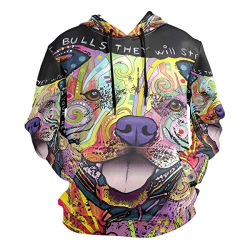 Unisex Hoodies Animal Dog Tattoo Pit Bulls Long Sleeve Sweatshirt Pullovers ()