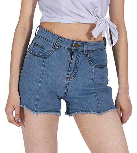 PHOENISING Women's Mid Waist Denim Shorts Stylish Wid & Raw Edge Short Pants,Size 2-16