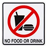 No Food or Drink Warning Door Sign Hotel Restaurant Shop 12x12 cm