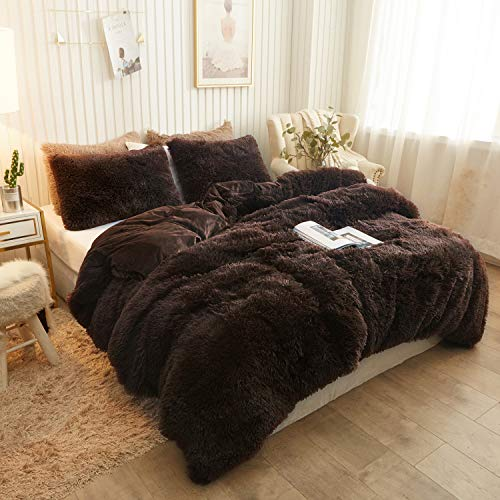 CHENFENG Plush Shaggy Duvet Cover Luxury Ultra Soft Crystal Velvet Bedding Set 1PC(1 Faux Fur Duvet Cover,Zipper Closure(Queen,Coffee)