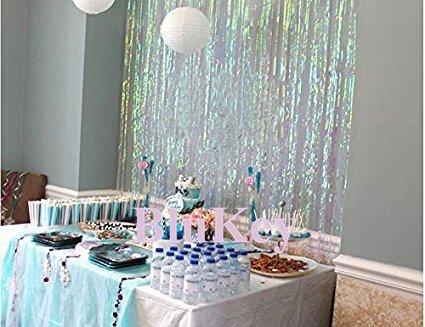 2 Packs Foil Fringe-Backdrop-Iridescent White-3FTX8FT Metallic Door Window Curtain Party/Birthday/Wedding/Event (Halloween Window Treatment Ideas)