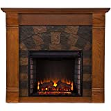 Caden 45 in. Rustic Antique Oak Freestanding Portable Indoor Electric Fireplace, Can Fit TV up to 43.5 in, with...