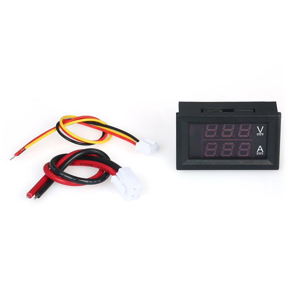 Montloxs LED DC0~100V 10A amper/ímetro digital del volt/ímetro rojo//azul Dual Display Color Voltage y Amper/ímetro Volt Amp Gauge Panel