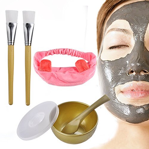 Facial Mask Brushes Bowls Set with Hair Band,INHDBOX DIY Facemask Tool Kits Skin Care Essential Spatula and (Cat Bowl Brush)
