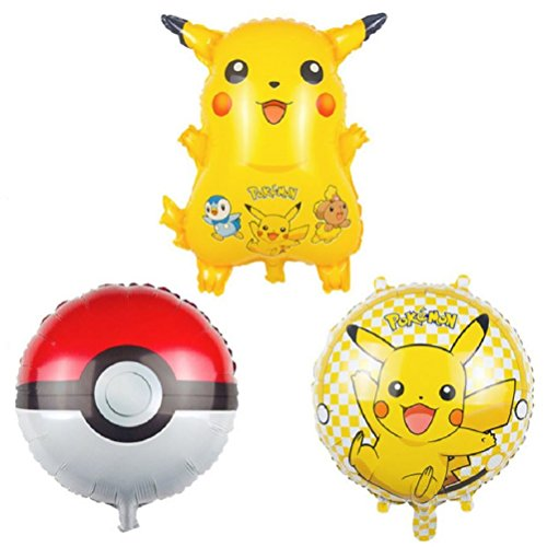 Pokemon Birthday Party Balloons - Pikachu Friends and Pokeball Balloon - Adult & Kids Party Theme Decorations - Helium Quality Themed Balloon Supplies - by Jolly Jon
