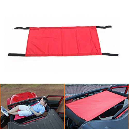 Car Roof Rest Bed Hammock for Jeep Wrangler & Wrangler Unlimited JK (Red)