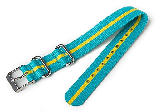 Timex T7B992 Weekender 16mm Teal and Yellow Nylon Slip-Thru Watch Strap (Timex Watch 16mm Weekender Strap)