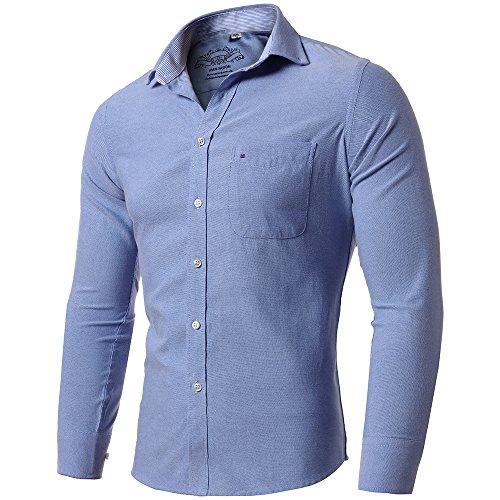INFLATION Men's Slim-Fit Long Sleeve Oxford Shirt Casual Button Down Collar Shirt Dress Shirt 15