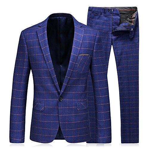 (MAGE MALE Mens Plaid 3 Pieces Suit Slim Fit Notch Lapel One Button Party Tux Jacket Vest Trousers)