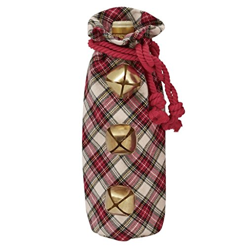 Tartan Gift Bags (Mud Pie Christmas 12x6in Jingle Bell Tartan Wine Bag 4864066 (White))