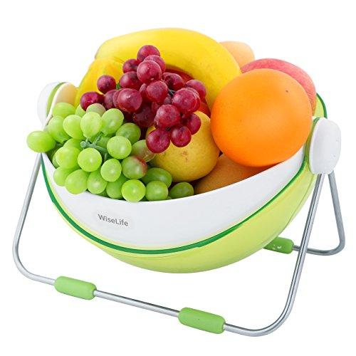 Wiselife Fruit Wash Bowl Fruit Basket 360 Rotatable Lid Fruit Holder Centerpiece Vegetable Washing Basket Storage Green