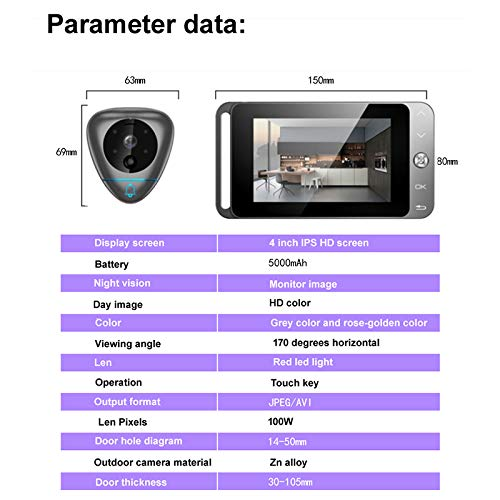 TOOGOO 4 Inch Smart Video Doorbell Wireless Peephole Viewer With T Auto-Taking Photos/Recording And Motion Detection by TOOGOO (Image #1)
