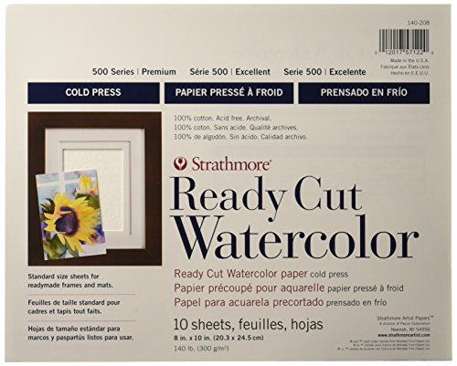 Strathmore 500 Series Ready Cut Watercolor Paper, 140 lb. Cold Press, 8
